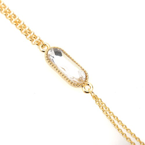 rystal Solitare Oval Wrist and Finger Bracelet (Clear with Gold Plated) (Crystal Solitare)