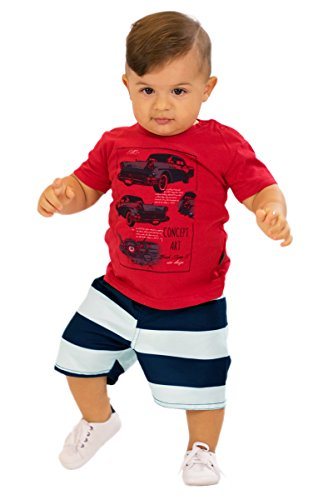 3 Piece Summer Short - Pulla Bulla Baby Boy 2-Piece Set Shirt and Shorts Outfit 3-6 Months Red