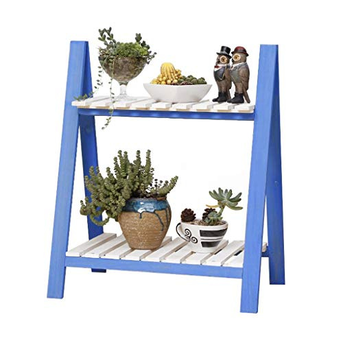 XAJGW 2 Tier Folding Wooden Plant Stand Wood Organizer Flower Pot Stand Plant Display Shelf Rack Ladder Garden Indoors Outdoors (Color : Style B)