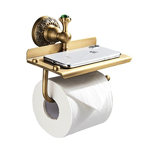 (Rozin Wall Mounted Multifunctional Toilet Paper Holder Antique Brass)