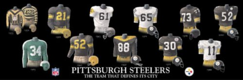 Framed and Matted Evolution History Pittsburgh Steelers Uniforms Print