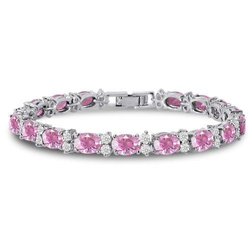Kezef Cubic Zirconia Tennis Bracelet CZ Round Cut 2.5mm White 7x5mm Oval Cut Pink Silver Plated Brass 7 in