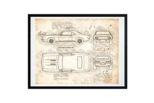 DolanPaperCo #414 Chevrolet Camaro SS (1969) Art Print, da Vinci Sketch - Unframed - Multiple Size/Color Options (16x20, Vintage)
