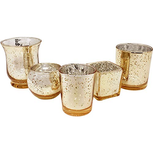 Just Artifacts Gold 5pcs Assorted (Size, Style) Mercury Glass Votive Tealight Candle Holder Set - Mercury Glass Votive Tealight Candle Holders for Weddings, Parties, and Home Décor (Glass Champagne Candle Holders)
