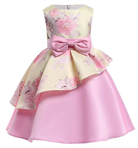 AYOMIS Litter Big Girl Dress Princess Gowns Bow Party Wedding ()