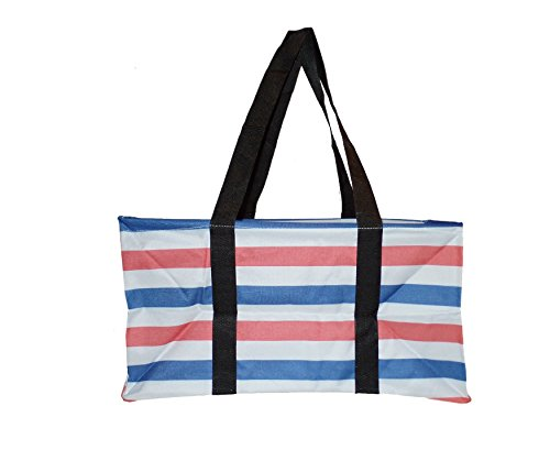 Canvas Ultimate Tote - Carry All Organizer Bag - A Summer Beach Must Have (Red / Blue) (Tote Ultimate)