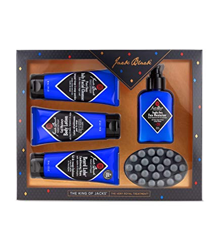 Jack Black - The King of Jacks - Pure Clean Daily Facial Cleanser, Double Duty Face Moisturizer SPF 20, Cool Moisture Body Lotion, Beard Lube Conditioning Shave and Charcoal Body Bar, 5 Piece Set