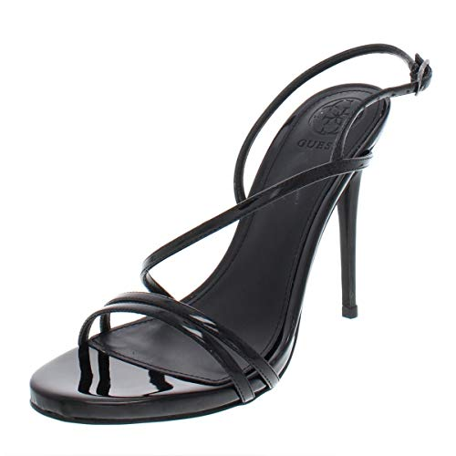 GUESS Womens Tilda Open Toe Special Occasion Strappy, Black Patent, Size 9.5