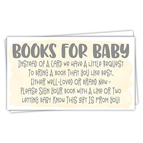 50 Yellow Watercolor Books for Baby Shower Request Cards - Invitation Inserts - Gender Neutral Baby Shower