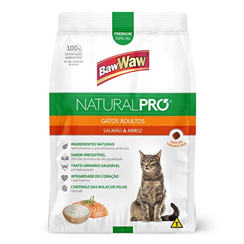 Baw Waw Natural Pró Alimento Para Gatos Salmão E Arroz - 6x2,5kg - Com Válvula Segurança