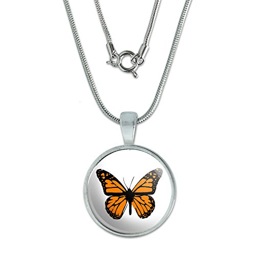 Monarch Butterfly Pendant with Sterling Silver Plated Chain