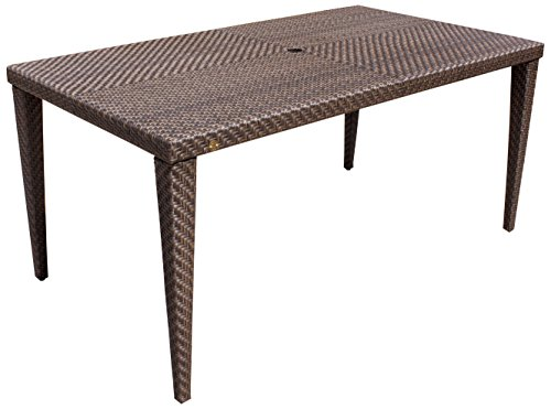 Hospitality Rattan Hospitality Rattan Soho Patio Rectangular Woven Dining Table, Small (Soho Outdoor Dining)