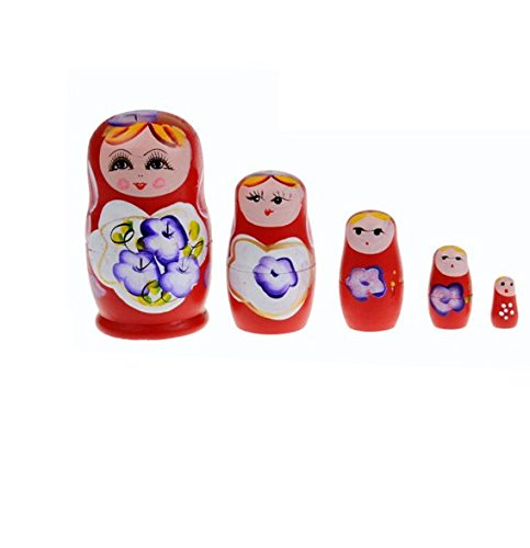 - Glamorway Lovely Russian Nesting Matryoshka 5-Piece Wooden Doll Set Wooden Doll Hand Painted Doll Toy (Red)