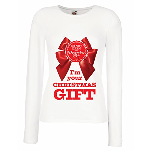 T Shirt Women Ideas from Santa, Xmas Holiday Outfits (Large White Multi -