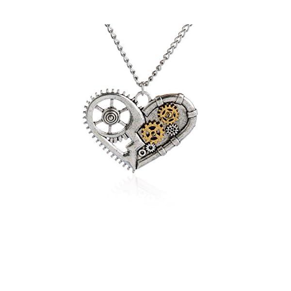 AOLO Vintage Silver Heart Pendant Necklace Gear Charm Steampunk Necklaces 3