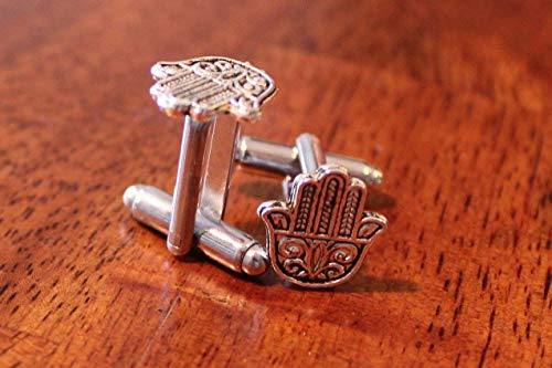 Hamsa cuff links, hand Cufflinks, Handmade Jewish novelty Cuffs, Israel gift for men, kabalah, kaballah, hanukkah novelty for $<!--$14.00-->