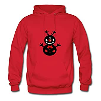 Smiley Reindeer Snowman Vector Art Genevphilli X-large Women Red Fashionalble Hoodies