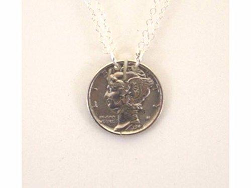 Mercury Dime Love Cut Pair Cut Coin Necklace Split