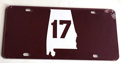 The Sports Fan Store Alabama Crimson Tide Red 17 Championships Mirrored License Plate - BAMA Car Tag