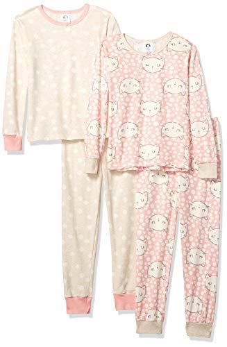 (Gerber Girls' Toddler Organic, Kitty Head, 3T,  2-Piece Cotton Pjs )