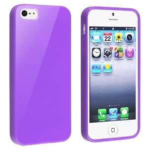 HB TPU Rubber Skin Case Compatible with Apple iPhone 5 / 5S (Purple)