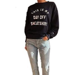 Crazy Girls Womens This is My Day Off Sweatshirt Slogan Ladies Casual Top Jumper UK Oversized Fleece Jumper Baggy Tops T…