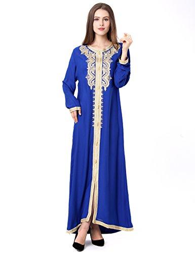 Muslim Dress Dubai Kaftan For Women Long Sleeve Long Dress Abaya Islamic Clothing Girls Arabic Caftan JALABIYA,Blue,3X