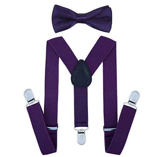 Child Kids Suspenders Bowtie Set - Adjustable Suspender Set for Boys and Girls(25Inches (5 Months to 6 Years),Dark purple) -