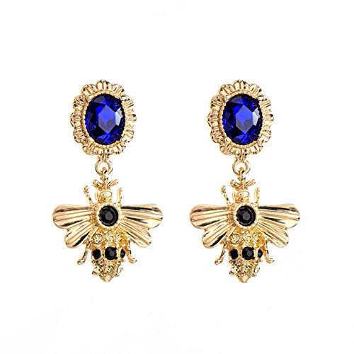 IUTING Jewelry Long Short Blue Glass Bee Drop Earring Piercing Earring -