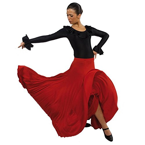 Happy Dance Full Circle and Half Flamenco Skirt, Red, 2XL-3XL-Adult