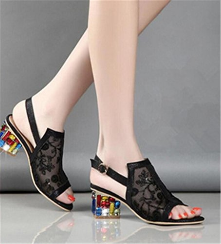 MNII Womens High Heels Sandalen Strass Hollow Fashion- Sommermode Black