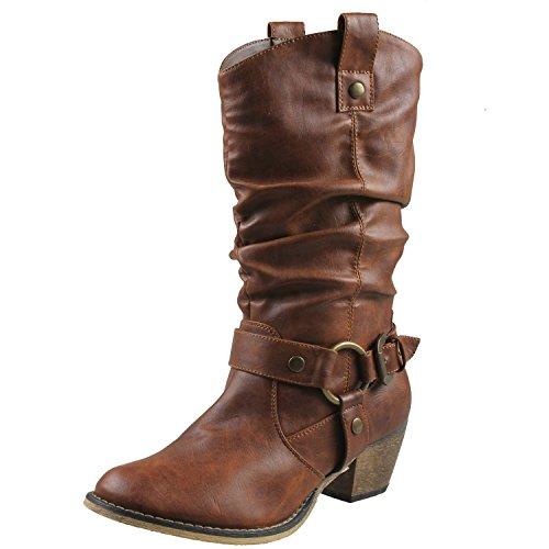 REFRESH Women Wild-02 Western Style Cowboy Boots,Tan,9