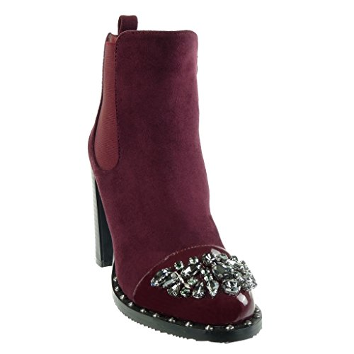 Angkorly Women's Fashion Shoes Ankle Boots - Booty - Chelsea Boots - Cavalier - Biker - Jewelry - Rhinestone - Studded Block High Heel 10 CM Wine C5j4L