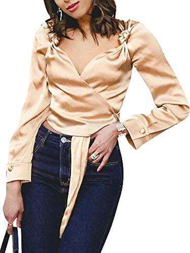 Sollinarry Women's V Sexy Long Sleeve Satin Wrap Blouse Vintage Knot Shirts Tops Khaki S