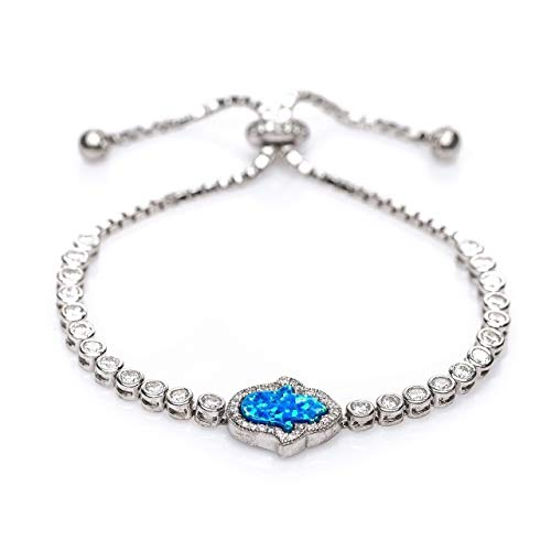 - Hamsa Blue Opal Bracelet in Silver With Glamorous Stones for Added Protection, Success & Energy