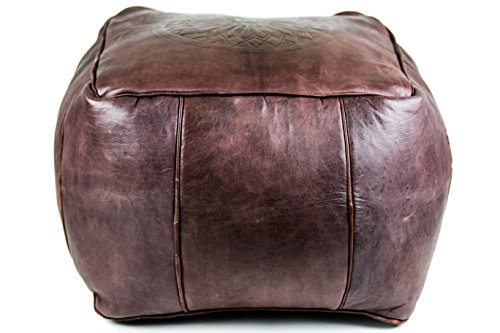 GRAN Genuine Leather Square Moroccan Pouf Footstool Ottoman | Burgundy Color | Unstuffed (Leather Poof Ottoman)