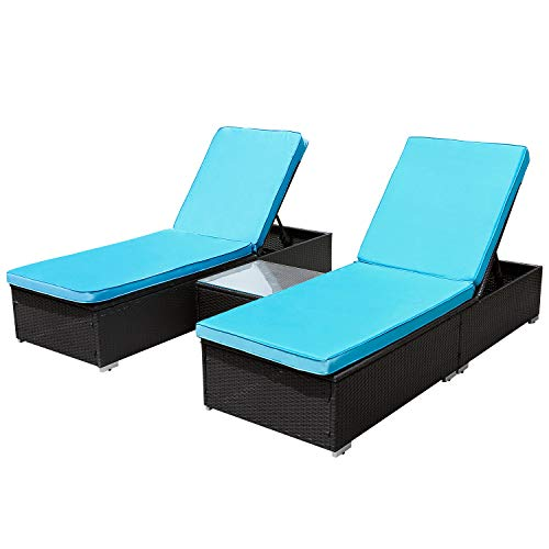 TUSY 3 PCs Patio Chaise Lounge Sets, Outdoor Rattan Lounge Chairs with Coffee Table, Adjustable Back, Rattan Furniture and Cushion