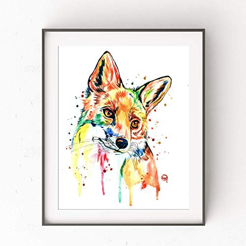 (Fox Wall Art by Whitehouse Art | Home Decor, Bedroom Decor, Living Room Decor, Artwork for Home Walls, Woodland Themed |Professional Print of a Fox Original Watercolor Painting | Wilderness | 5 Sizes)