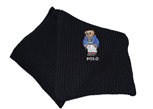 Polo Ralph Lauren Mens Polo Bear Scarf(Black Sky, Os)