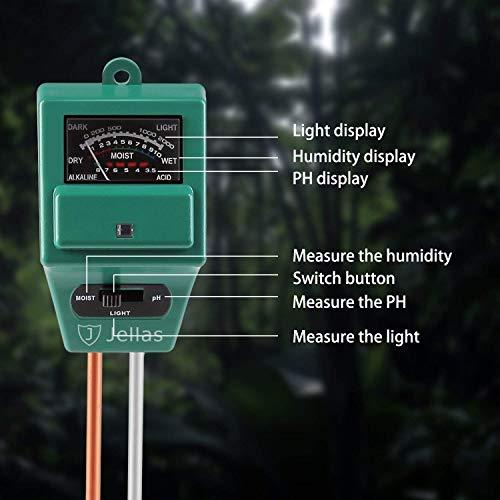 Jellas Soil pH Meter, 3-in-1 Moisture Sensor Meter/Sunlight/pH Soil Test Kits Test Function for Home and Garden, Plants, Farm, Indoor/Outdoor Use by Jellas (Image #4)