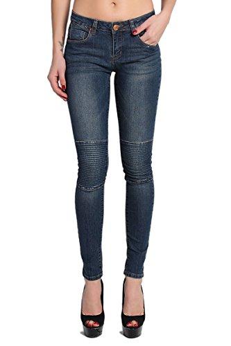 TheMogan Women's Moto Seamed Knee Low Rise Skinny Jeans - Dark - 5