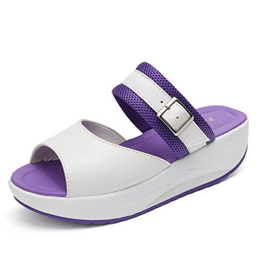 d'été étanche Femmes pour Avec Pantoufles des Forme Plate QLVY Pantoufles Shake Pente Violet Chaussures t6qZYwxUB