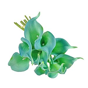 Artificial Flowers, Toifucos 10pcs Calla Lily Bridal Wedding Bouquet Latex Real Touch Flower Bouquets for Wedding Home Decor 46