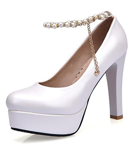 Easemax Womens Elegant Beaded Chains Platform High Chunky Heel Low Top Pumps Shoes White dx1XJnp6