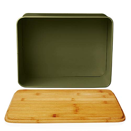 Lumaland Cuisine panera en Metal con Tapa en bambú, Rectangular, Verde Hierba, ca. 30,5 x 23,5 x 14 cm