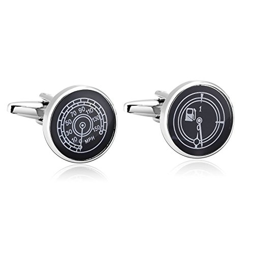 Gnzoe Stainless Steel Men's Black White Oil MPH Car Shirt Cufflinks with Gift Box