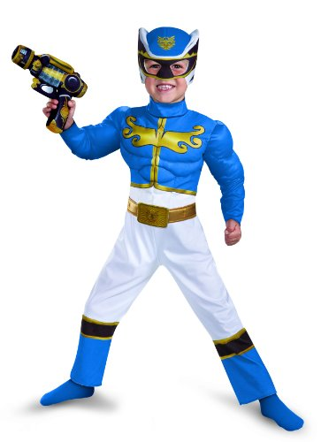 Disguise Power Rangers Megaforce Blue Ranger Muscle Costume, 3T-4T