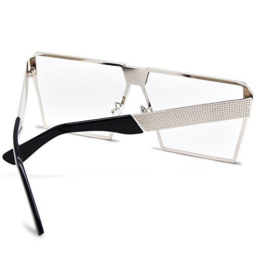 tamaño sol polarizada Espejo de claro las Gafas mujeres reflectante amztm cuadrado para de efecto lente gran p8EqPXw