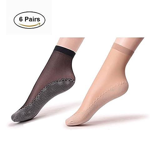 Women's Silky Nylon Ankle High Tights Hosiery Socks Cotton Sheer Socks 6 Pack (Ankle High Hose)