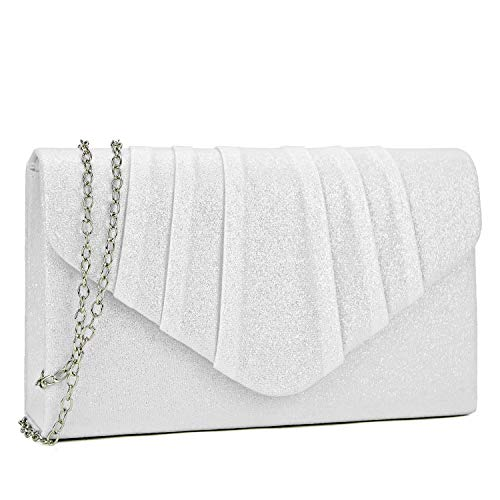 Dasein Women Glistening Evening Bags Pleated Clutch Handbags Wedding Purses Cocktail Prom Hand Pouch Ivory ()